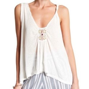 Free People new days ivory beaded swing tank top